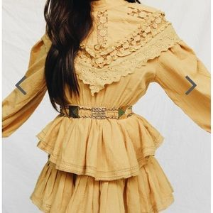 Gold ruffle mini dress! Still full price online!